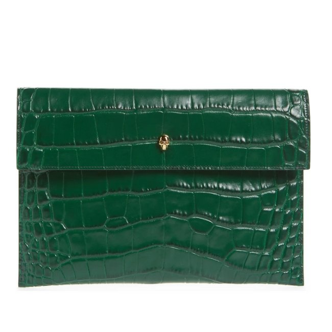 Alexander McQueen Croc Embossed Clutch in Emerald -