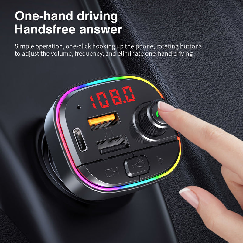 Bluetooth Car MP3 player w/ FM Transmitter & Breathing Color Light -
