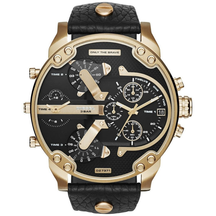 Diesel Men's Chronograph Mr. Daddy 2.0 Black Leather Strap Watch 57x66mm DZ7371 - #tusk_global#