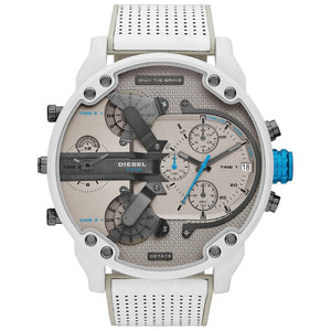 Diesel Men's Chronograph Mr. Daddy 2.0 White Leather Strap Watch 57mm - #tusk_global#
