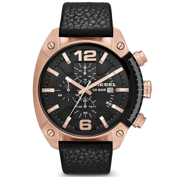 Diesel Men's Chronograph Overflow Black Leather Strap Watch 54x49mm - #tusk_global#