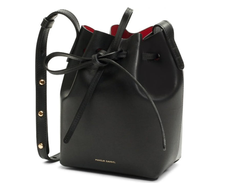 Super Mini Leather Bucket Bag in Black -