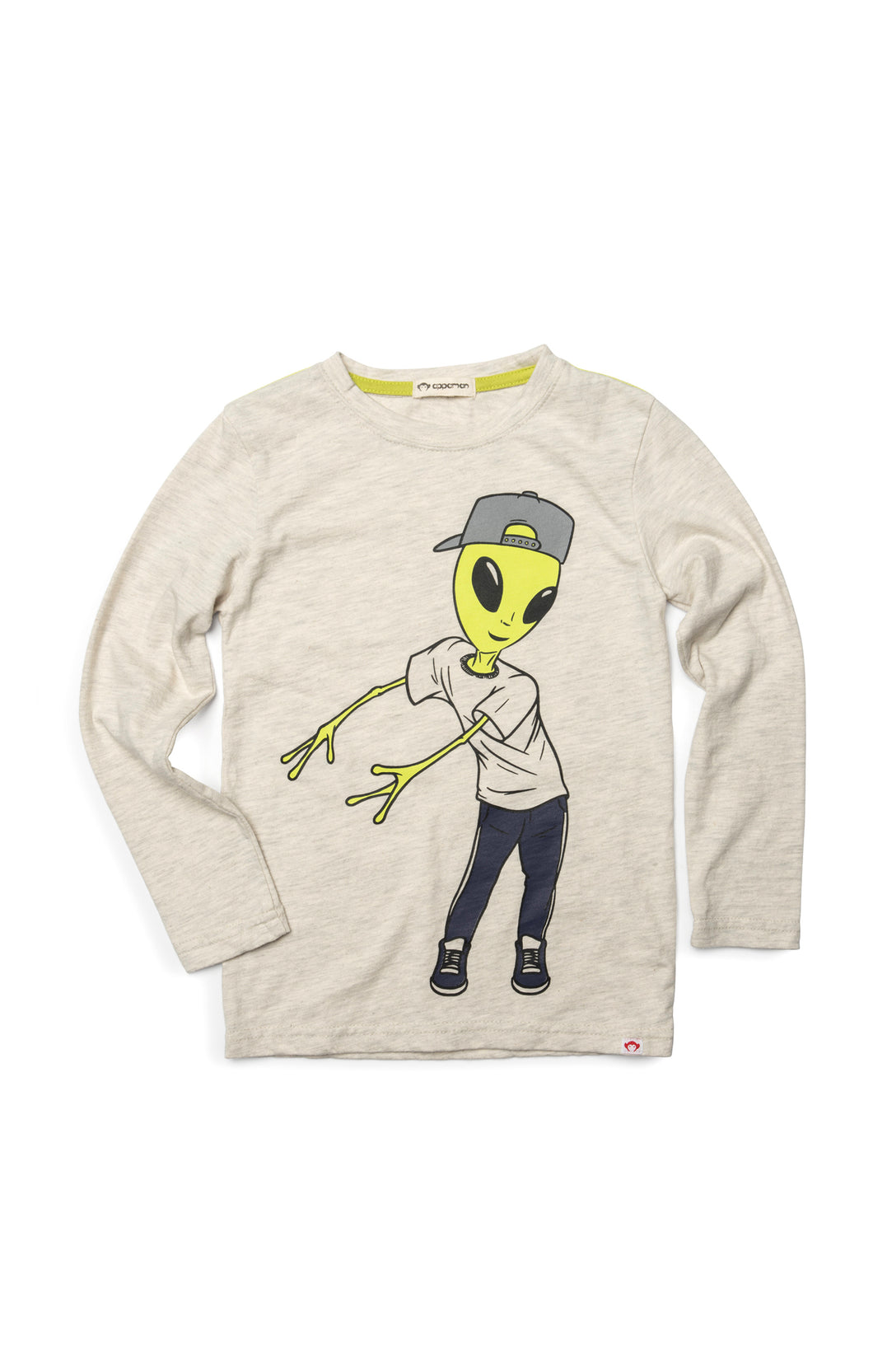 Long sleeve shirt with green alien flossing