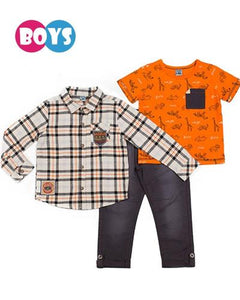 Boys Graphic Top, Button Down Shirt, and Pants 3 pc Set