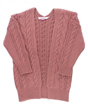 Load image into Gallery viewer, Mauve Chunky Knit Open Style Cardigan