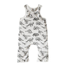 Load image into Gallery viewer, Black White Dinosaur Print Baby Unisex Racerback Romper
