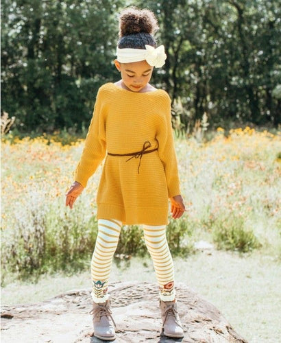 Golden Yellow Lace Up Sweater Tunic