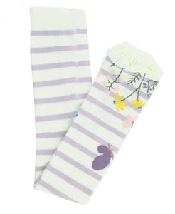 Misty Lilac & Ivory Stripe Floral Footless Ruffle Tights