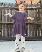 Load image into Gallery viewer, Misty Lilac & Ivory Stripe Floral Footless Ruffle Tights