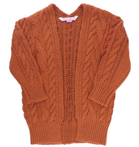 Orange Spice Chunky Knit Open Cardigan