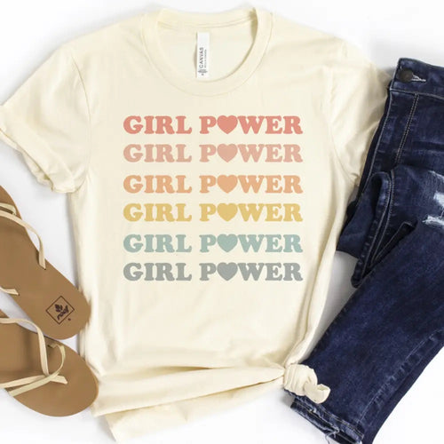 PREORDER! Women's Pastel Rainbow Girl Power Graphic Tee