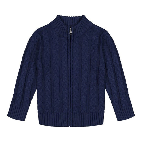 Navy Cable Zip Sweater
