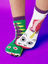 Load image into Gallery viewer, Dragon & Unicorn Mismatched Pals Socks
