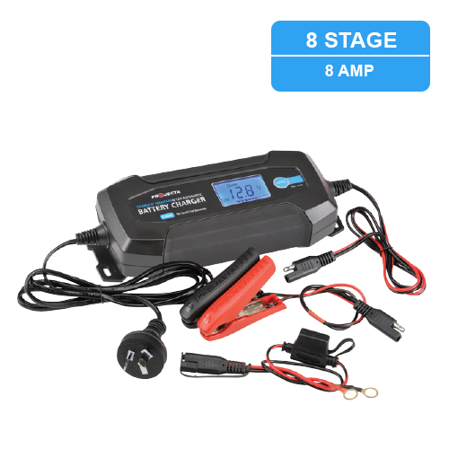 PROJECTA 12V AUTOMATIC 8 AMP 8 STAGE BATTERY CHARGER