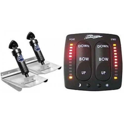 BENNETT HYDRAULIC TRIM TAB KIT - COMPLETE M120 SPORTS KIT WITH EIC CONTROL INDICATOR - 10 x 12 INCH TABS
