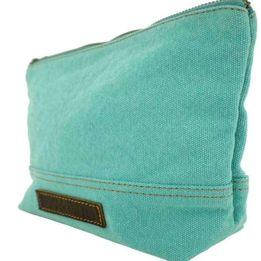 Turquoise Canvas Leather Wristlet Carry All