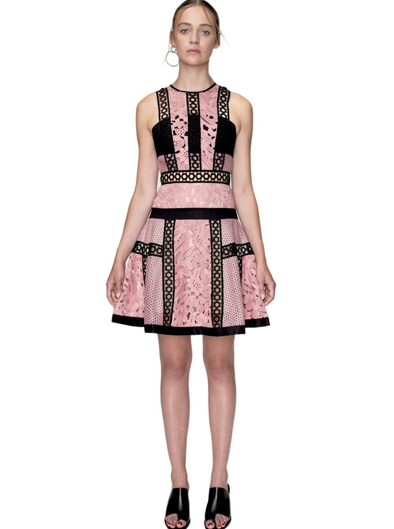 Pink Lace Dress with Black Lace Trim