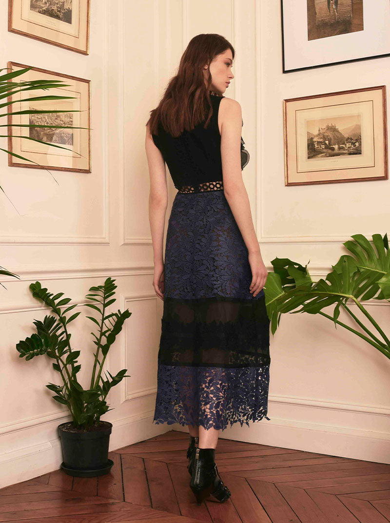 Navy Black Lace Midi Dress in L