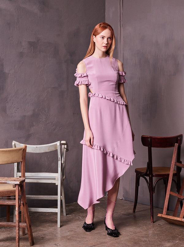 Gather Open Shoulder Silk Lilac Dress in S
