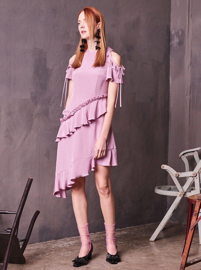 Flounce Open Shoulders Silk Lilac Dress in S