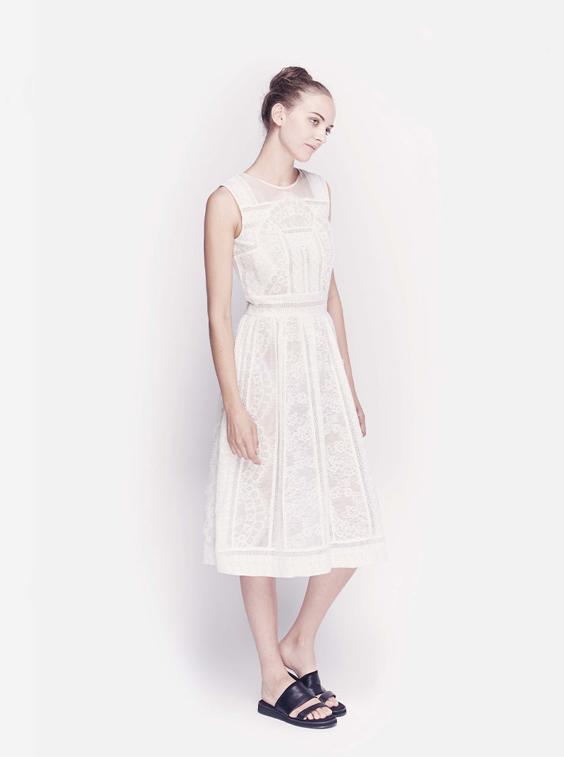 Cut & Sew White Lace Dress