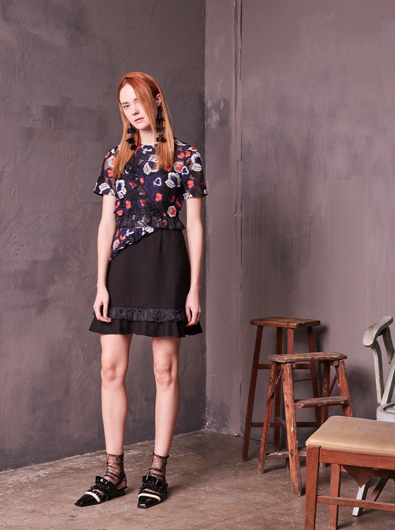 Patched Waisted Carnation Dress in S