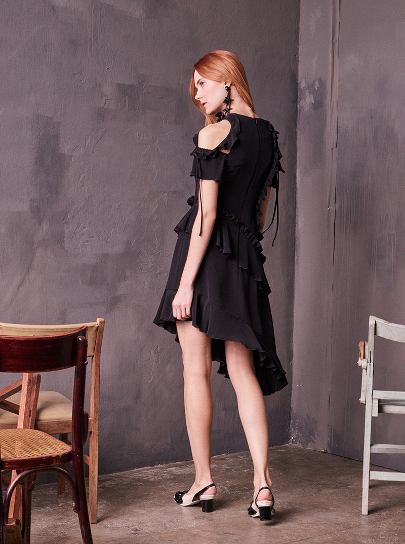 Flounce Open Shoulder Black Silk Dress in S