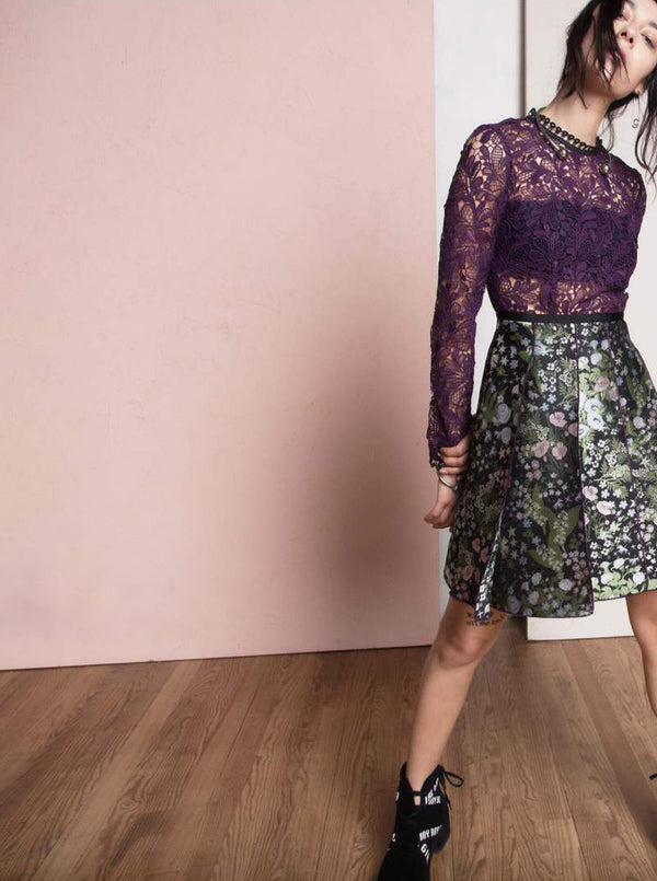 Long Sleeve Pleated Dress in Guipure Lace and Forest Jacquard