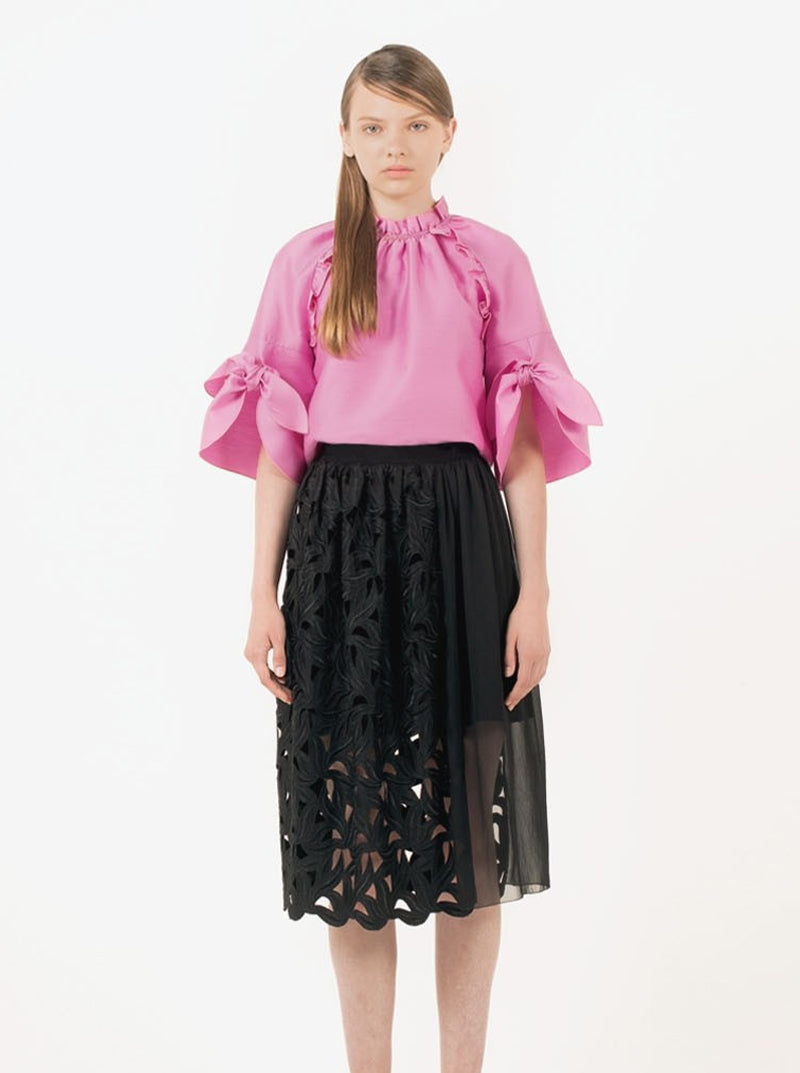 Chiffon & Leaf Lace Panel Skirt