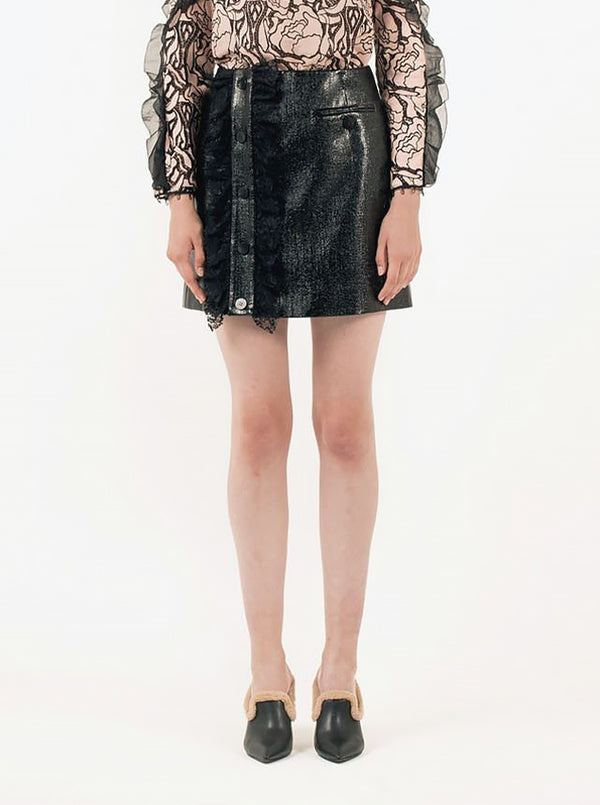Lace Gather & Patent Mini Skirt in S
