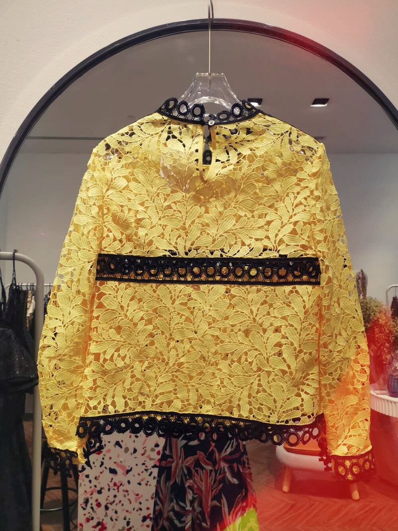 Yellow Floral Lace Top