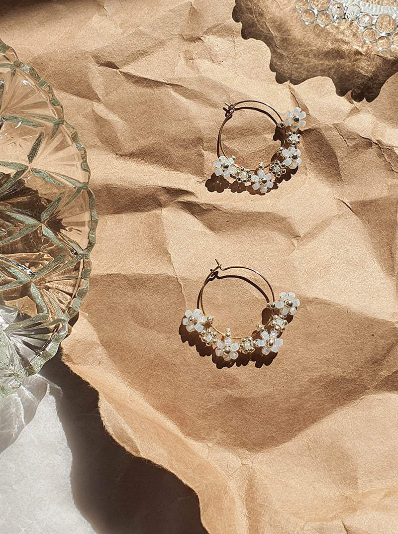 Keiley Beaded Earrings in Pearl White