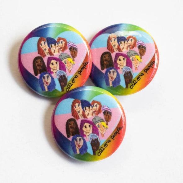 "Revolution Art Shop All One People 1"" Round Buttons Button 1 Button / All One People"