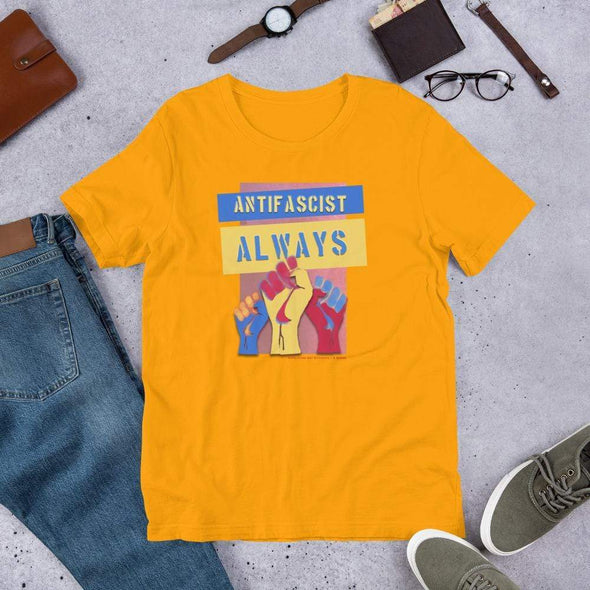Revolution Art Shop Antifascist Always Unisex Tee Unisex Tee Gold / S