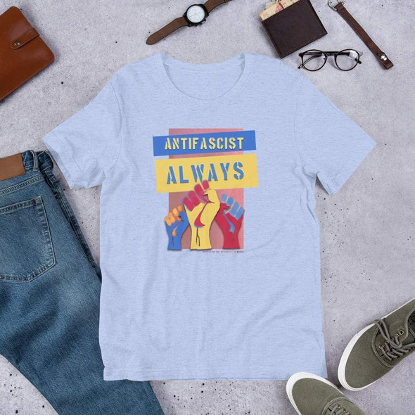 Revolution Art Shop Antifascist Always Unisex Tee Unisex Tee Heather Blue / S