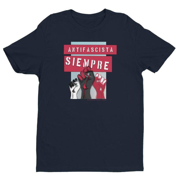 Revolution Art Shop Antifascista Siempre Mens Fitted Tee Men's Tees Midnight Navy / XS