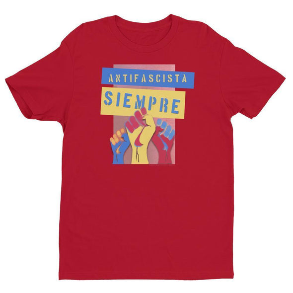 Revolution Art Shop Antifascista Siempre Mens Fitted Tee Men's Tees Red / XS