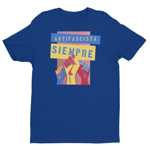 Revolution Art Shop Antifascista Siempre Mens Fitted Tee Men's Tees Royal Blue / XS