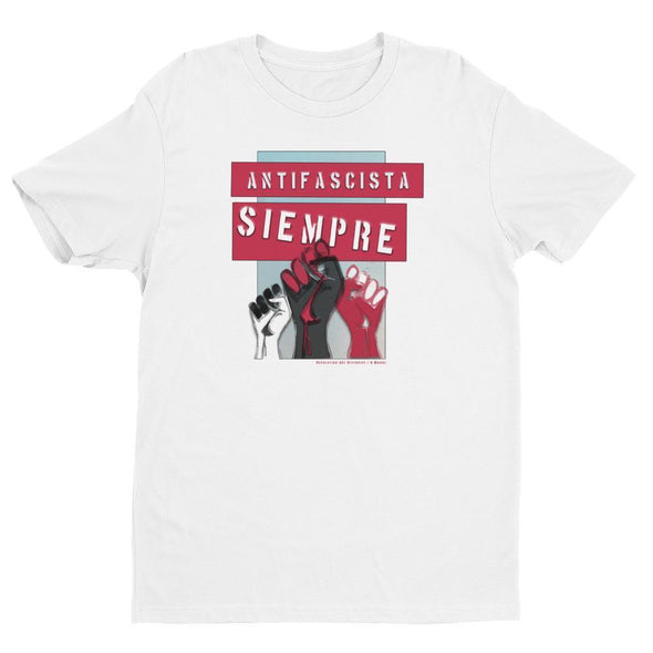 Revolution Art Shop Antifascista Siempre Mens Fitted Tee Men's Tees White / XS