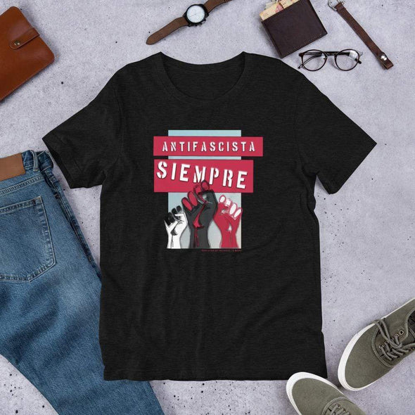 Revolution Art Shop Antifascista Siempre Unisex Tee Unisex Tee Black Heather / S