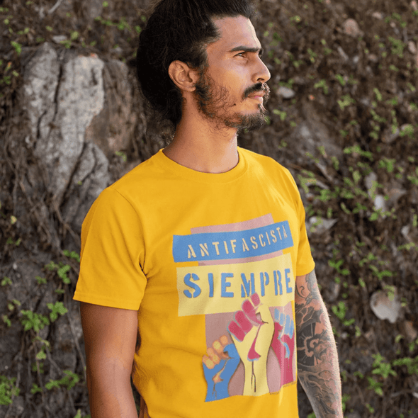 Revolution Art Shop Antifascista Siempre Unisex Tee Unisex Tee Gold / S