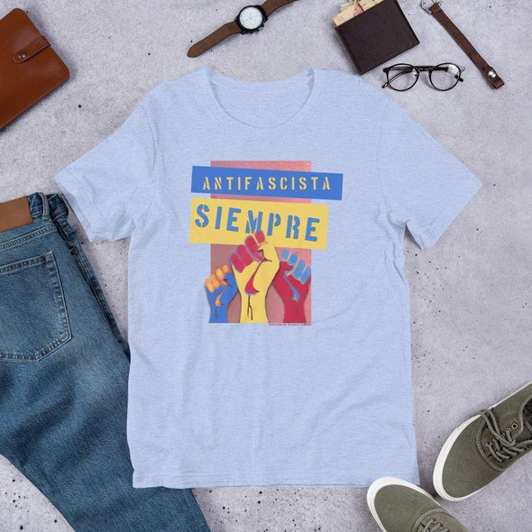 Revolution Art Shop Antifascista Siempre Unisex Tee Unisex Tee Heather Blue / S
