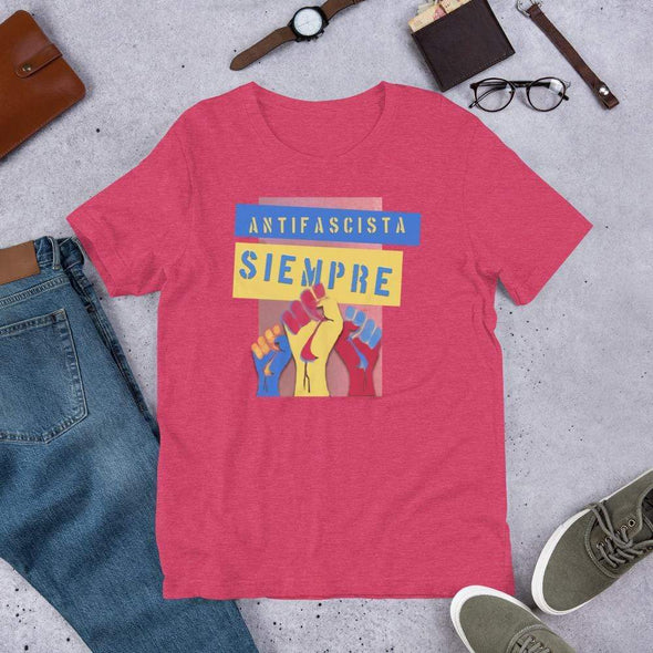 Revolution Art Shop Antifascista Siempre Unisex Tee Unisex Tee Heather Raspberry / S