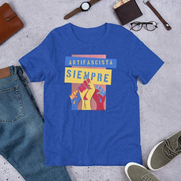 Revolution Art Shop Antifascista Siempre Unisex Tee Unisex Tee Heather True Royal / S