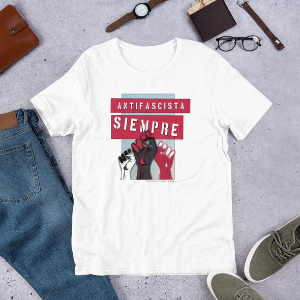 Revolution Art Shop Antifascista Siempre Unisex Tee Unisex Tee White / S