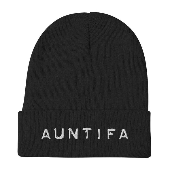 Revolution Art Shop Auntifa • Aunties Against Fascism Embroidered Beanie Beanie Black