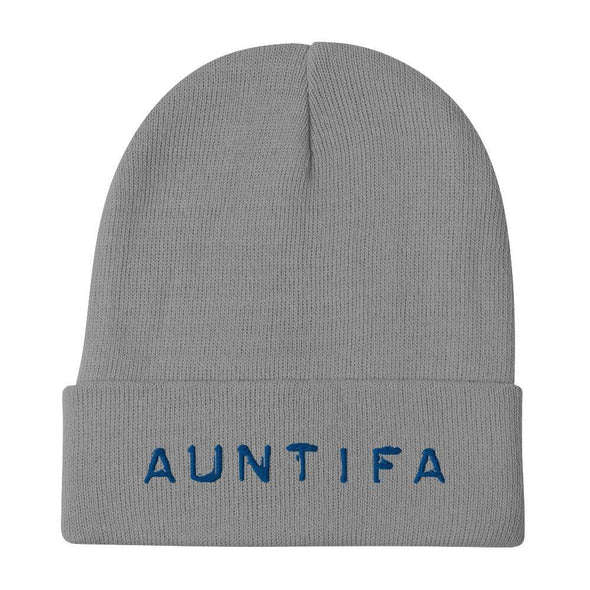 Revolution Art Shop Auntifa • Aunties Against Fascism Embroidered Beanie Beanie Gray