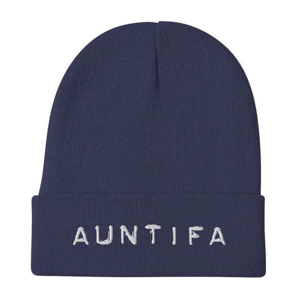 Revolution Art Shop Auntifa • Aunties Against Fascism Embroidered Beanie Beanie Navy