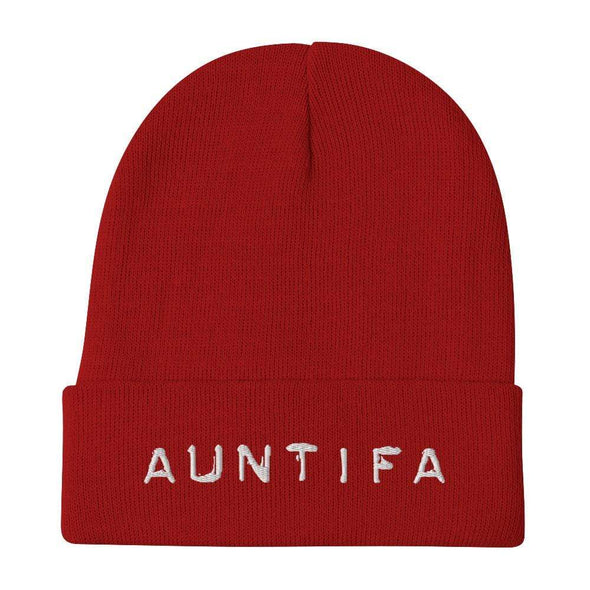 Revolution Art Shop Auntifa • Aunties Against Fascism Embroidered Beanie Beanie Red