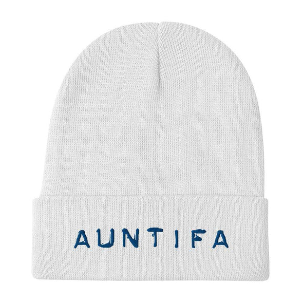 Revolution Art Shop Auntifa • Aunties Against Fascism Embroidered Beanie Beanie White